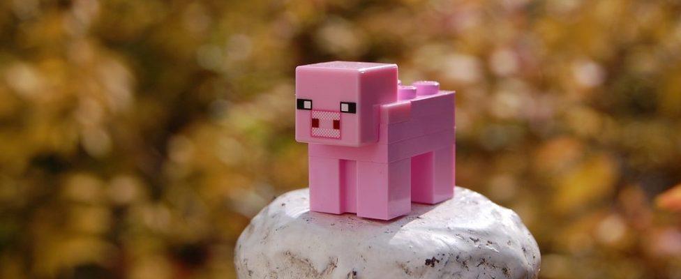 Minecraft, Pig, Bricks, Toy, Piggy, PinkMinecraft Pig Bricks Toy Piggy Pink